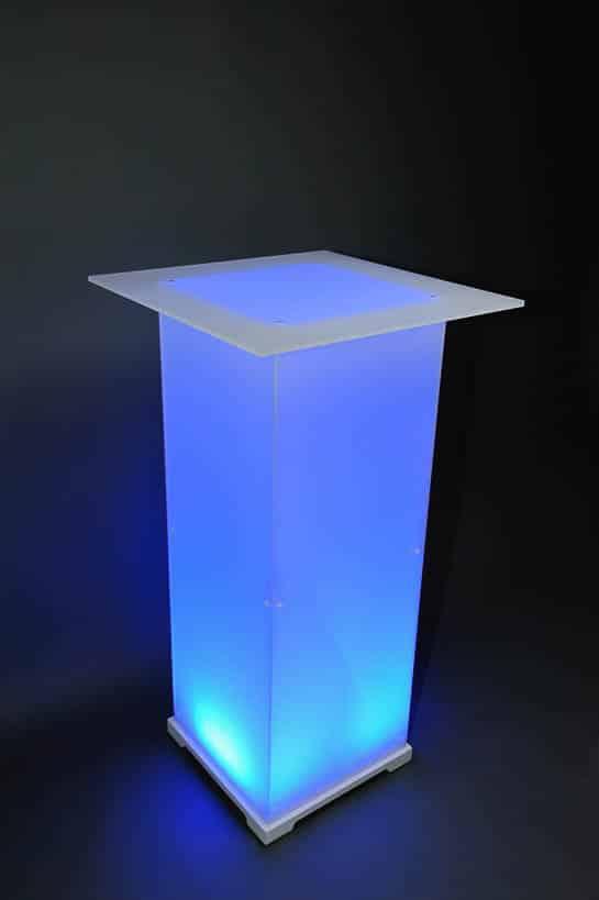 Stehtisch Plexi Opal blau